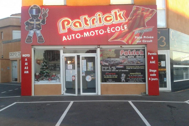 avant de l'entreprise - auto moto ecole patrick - saint-esteve 66